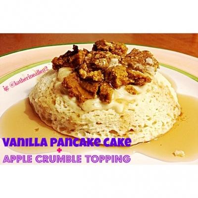 Vanilla Pancake Cake With Apple Crumble