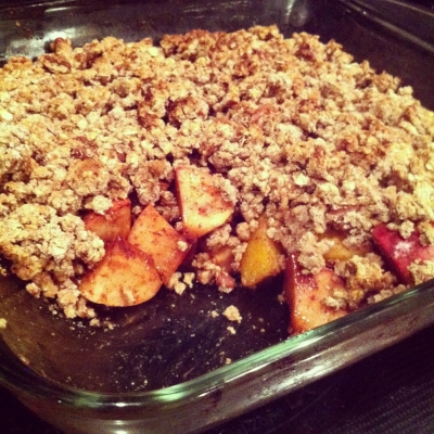 Warm Apple Peach Crumble
