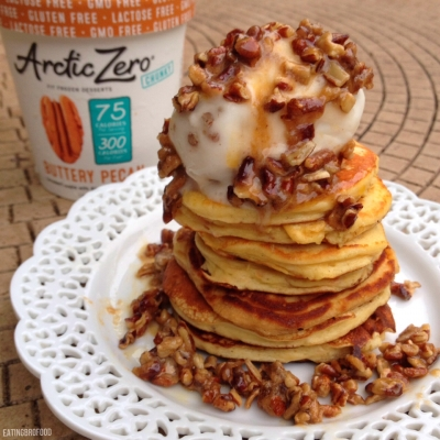 Warm Buttery Pecan Pie Protein Pancakes