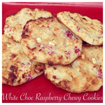 White Choc Raspberry Cookies