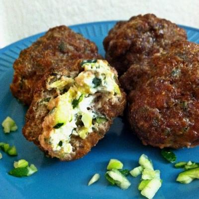 Zucchini & Ricotta Stuffed Meatballs