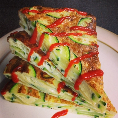 Zucchini and Parmesan Frittata With Sriracha