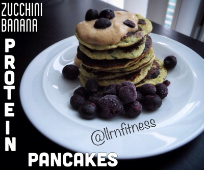 Zucchini Banana Protein Pancakes