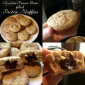 Chocolate-Peanut Butter Filled Protein Muffins