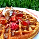 Cinnamon Peanut Butter Waffles With Strawberries and Chocolate Pb Drizzle