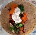 Five Spice Maple Glazed Chicken Wrap With Sweet Potato and Maple Cream