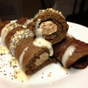 Mocha Crepes With a White Chocolate Raspberry Stuffing
