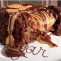 Peanut Butter Stuffed Chocolate Banana Mugcake