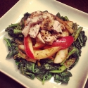 Sauteed Apple, Asparagus and Spinach Chicken Salad