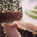 Sesame Crusted Rare Yellow-Fin Tuna Steak With Wasabi Yogurt