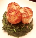 Sesame Scallop Spinach Stack