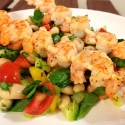 Shrimp Skewers and White Bean Vegetable Salad