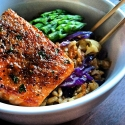 Soy Glazed Salmon & Ginger Cauliflower & Brown Fried Rice