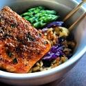 Soy Glazed Salmon & Ginger Cauliflower & Brown Fried Rice