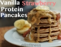 Strawberry Vanilla Protein Pancakes