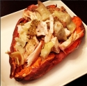Three-Ingredient Artichoke Chicken Stuffed Sweet Potato