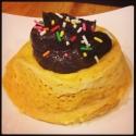 Vanilla Casein Mug Cake With Chocolate Peanut Butter Frosting