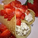 Vanilla Crepes -Stuffed With Cottage Cheese & Topped With Strawberries-